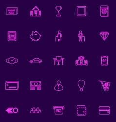 Personal financial purple line icons vector