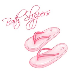 Hand drawn of isolated bath slippers vector