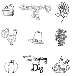 Thanksgiving element in doodle flat vector