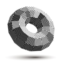 Abstract asymmetric monochrome stripy object vector
