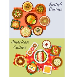 American and british cuisine icon for menu design vector