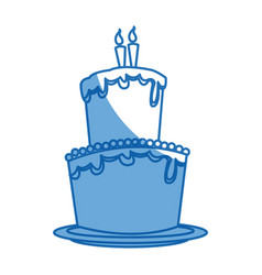 Big cake birthday celebration with two candles vector