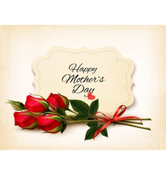 Bouquet of red roses Mothers Day background vector image vector image