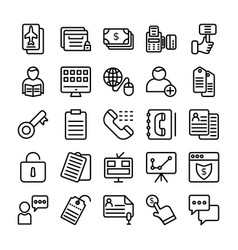Business and office line icons 14 vector