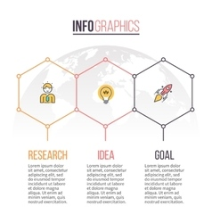 Business infographics Timeline with 3 hexagons vector image vector image