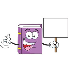 Cartoon Book Holding a Sign vector image vector image