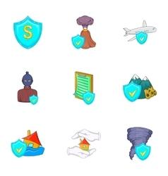 Crash icons set cartoon style vector