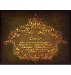 grunge gold floral frame vector image
