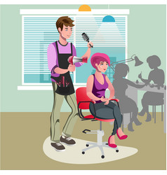 Hair stylist in a barber salon vector