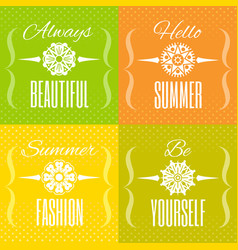 Hello summer text lettering logo set flower vector