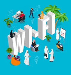 isomeric wi-fi concept web site computer online vector image vector image