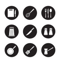 Kitchenware black icons set vector image vector image