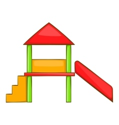 Playhouse with slide icon cartoon style vector