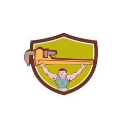 Plumber weightlifter monkey wrench crest cartoon vector