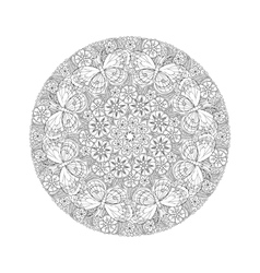Round mendie mandala with butterflies on the vector