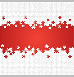 some white puzzles pieces red - jigsaw vector image vector image