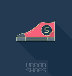 Stylized sneakers Outline urban shoes with long vector image