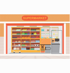 Supermarket building and interior with fresh food vector