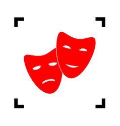 theater icon with happy and sad masks red vector image