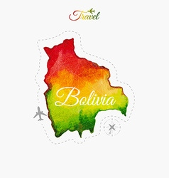 Travel around the world bolivia watercolor map vector
