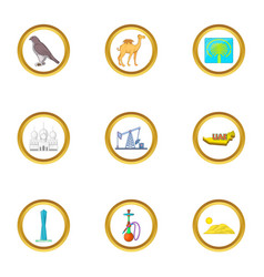 uae sights icons set cartoon style vector image vector image