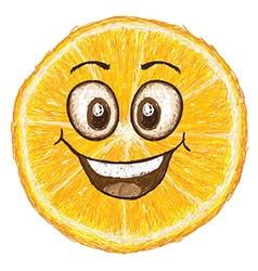 unique style of happy orange fruit cartoon cross vector image vector image