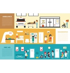 First aid diagnostics ambulance flat hospital vector