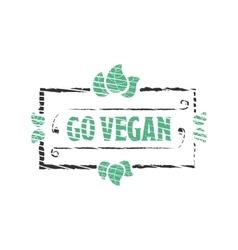 Go vegan organic food engraved icon vector