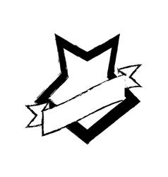 Shield shape star and ribbon sketch vector