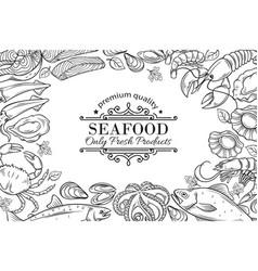hand drawn seafood restaurant menu vector image