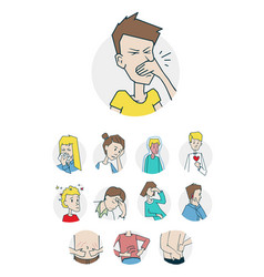 Diseases and illnesses icons set vector
