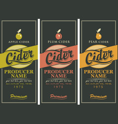 Set of three labels for a cider vector
