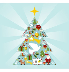 Christmas icon set in season tree shape vector
