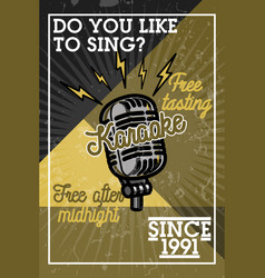 Color vintage karaoke banner vector