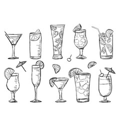Tropical exotic cocktails doodle style vector