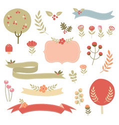 Floral fall ribbons and nature vector