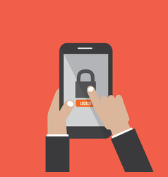 Hands hold smartphone with lock screen vector