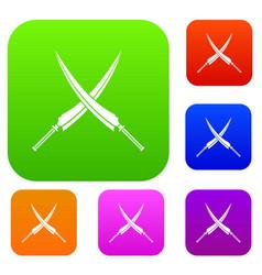 Samurai swords set color collection vector