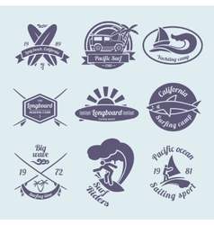 Surfing labels set vector