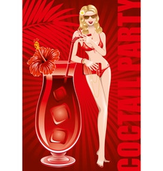 Girl in bikini with large cocktail vector