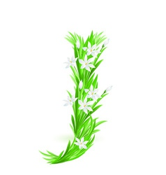 Spring flowers alphabet j vector