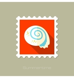 Shell flat stamp with long shadow vector