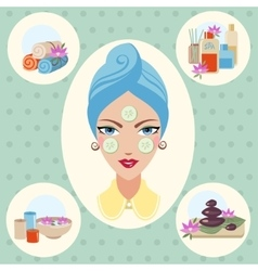 Girl at spa treatments vector