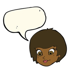 Cartoon female face with speech bubble vector