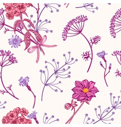 Seamless vintage pattern with herbs flowers vector