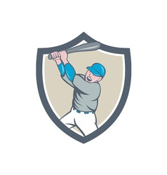 American baseball player batting homer crest vector