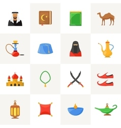 Arabic culture icons set vector