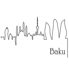 baku city one line drawing background vector image