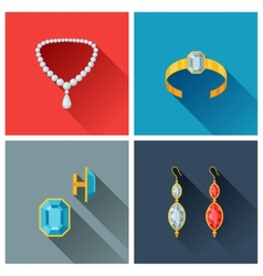 Beautiful jewelry and precious stones in flat vector