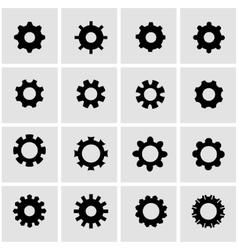 black gear icon set vector image vector image